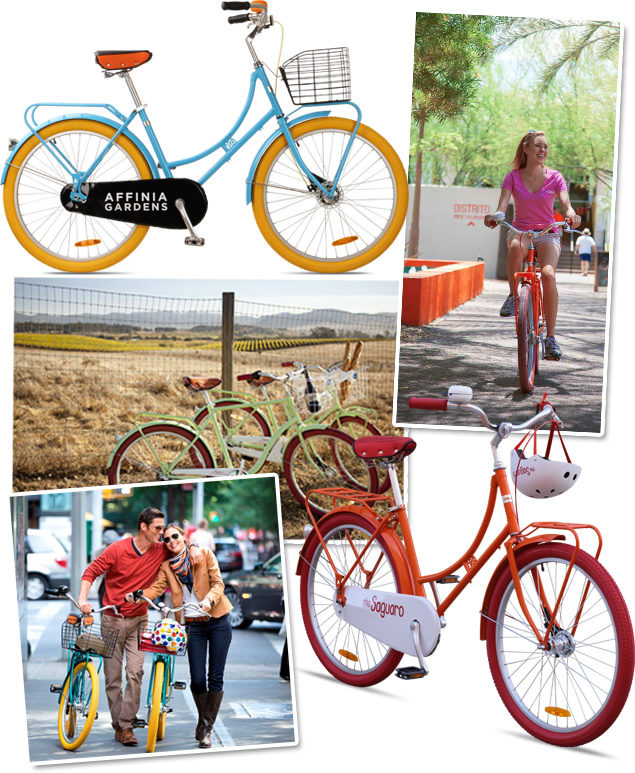Montage of custom Republic bicycles for hotels